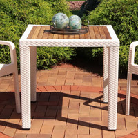 Sunnydaze All-Weather Square Plastic Patio Dining Table with Faux Wicker Design