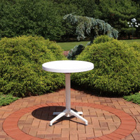 Sunnydaze All-Weather Round Plastic Patio Dining Table