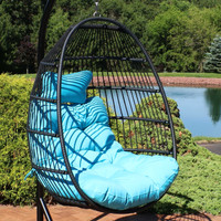 Sunnydaze Julia Hanging Egg Chair with Seat Cushions - 44 Inches Tall - Blue