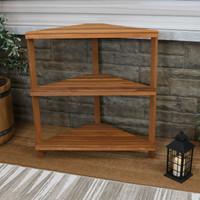 Meranti Wood 3-Tier Indoor/Outdoor Corner Plant Stand