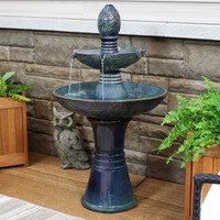 Double Tier Outdoor Ceramic Water Fountain