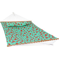 Sunnydaze 2-Person Quilted Printed Fabric Spreader Bar Hammock and Pillow - Watermelon Chevron