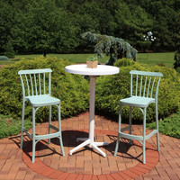 Sunnydaze All-Weather Woodway 3-Piece Patio Bar Furniture Pub Table and Stool Set