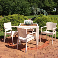 Sunnydaze All-Weather Segonia 5-Piece Patio Furniture Dining Set - Commercial Grade - Indoor/Outdoor Use - Cream