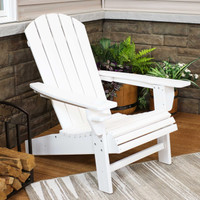 Sunnydaze All-Weather Outdoor Adirondack Chair with Drink Holder - White