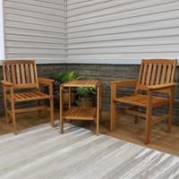 Sunnydaze Meranti Wood with Teak Oil Finish 3-Piece Outdoor Patio Conversation Set