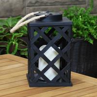 Modern Crosshatch Outdoor Solar LED Decorative Candle Lantern, Single