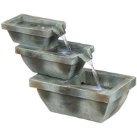 Sunnydaze Stacked Basin Trio Outdoor Fountain with LED Lights
