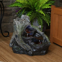 Sunnydaze Aged Logs and Flowing Brook Outdoor Fountain with LED Lights, 15-Inch