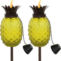 Sunnydaze Tropical Pineapple 3-in-1 Adjustable Height Yellow Glass Outdoor Torches - Set of 2