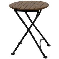 """Sunnydaze Brown European Chestnut Wood Folding Round Bistro Dining Table - 24"""""""