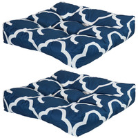 Set of 2 Tufted Outdoor Seat Cushions, Navy Blue and White Quatrefoil