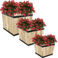 Sunnydaze Square Indoor/Outdoor Acacia Wood Barrel Planters - Set of 3