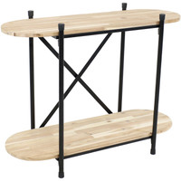 Sunnydaze Oval Indoor Unfinished Acacia Wood Plant Table