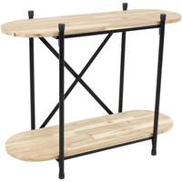 Sunnydaze Oval Indoor Unfinished Acacia Wood Plant Table
