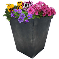 Sunnydaze Square Indoor/Outdoor Galvanized Steel Planter - Single - Charcoal