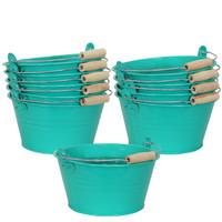 Sunnydaze Galvanized Steel Bucket Planter with Handle - Teal