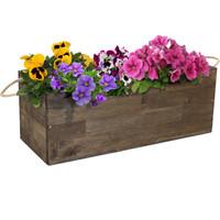 Sunnydaze Rectangle Indoor/Outdoor Acacia Wood Tray Planter with Handles