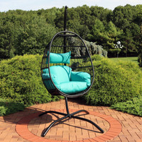 Sunnydaze Dalia Steel Hanging Egg Chair with Cushions and Steel Stand, 81 Inches Tall