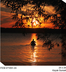 Kayak Sunset Canvas Wall Art