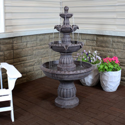 Mediterranean 4-Tiered Outdoor Water Fountain