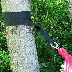 Black hammock tree strap in use