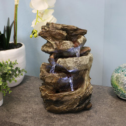 Tiered Rock and Log Tabletop Fountain w/ LED Lights