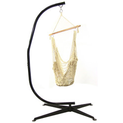 Cotton Rope Hanging Hammock Chair Swing with C-Stand