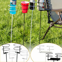 Sunnydaze Black and White Heavy Duty Outdoor Drink Holders