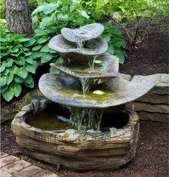 Henri Studio Cast Stone Giant Leaf Water Fountain