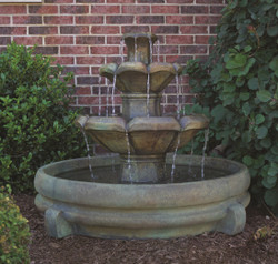 Henri Studio Cast Stone Montreux Two-Tier Water Fountain in Pool
