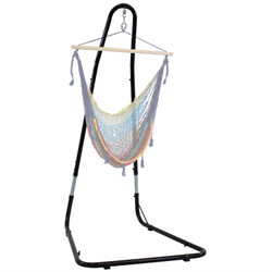 Adjustable Heavy-Duty Hammock Chair Stand Shown with Hanging Hammock Chair (Hammock Chair NOT Included)