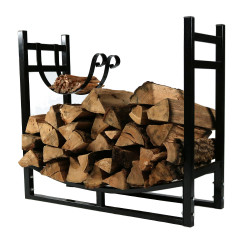 Black Rack with Kindling Holder Facing In