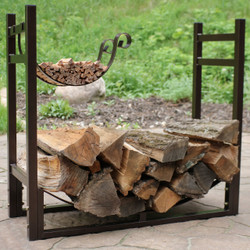 Bronze Rack with Kindling and Logs