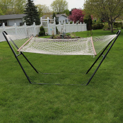 Double Wide Rope Hammock with Multi-Use Hammock Stand