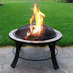 "30"" Natural Slate Fire Pit Table"