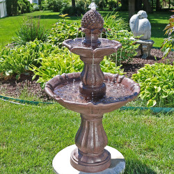Sunnydaze 2-Tier Curved Plinth Outdoor Water Fountain, 38 Inch Tall