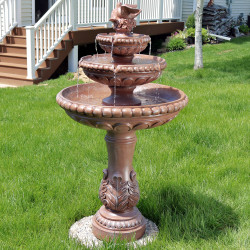 3-Tier Dove Pair Outdoor Water Fountain Daytime View
