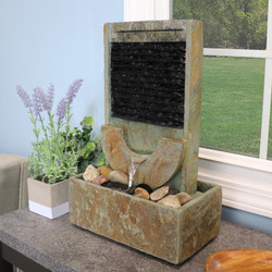 Half Moon Slate Indoor Tabletop Water Fountain