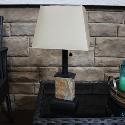 Outdoor Small Square Slate Solar Table Lamp