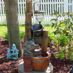 Rustic Pouring Buckets Outdoor Garden Water Fountain with Solar Lantern