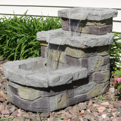 3-Tier Brick Steps Outdoor Water Fountain, Outdoors