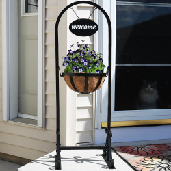 Outdoor Hanging Basket Planter Stand with Metal Welcome Sign