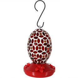 Red Mosaic Flower Hummingbird Feeder