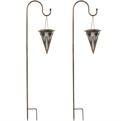 Decorative Cone Outdoor Hanging Solar Light With Shepherd Hook - Set of Two