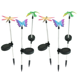 Solar Butterfly, Dragonfly, Hummingbird Stake LED Light - Set of 6