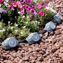 Sunnydaze Solar-Powered Outdoor Small Rock Garden Accent with White LED Light - Set of 4