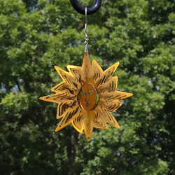 Reflective 3D Gold Sun Whirligig Wind Spinner