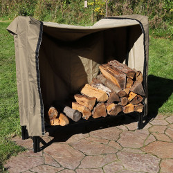 Sunnydaze 4-Foot Firewood Log Rack & Log Rack Cover