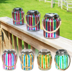 Striped Solar Lantern Glass Jar Light with White LED String Lights, Multiple Color Options